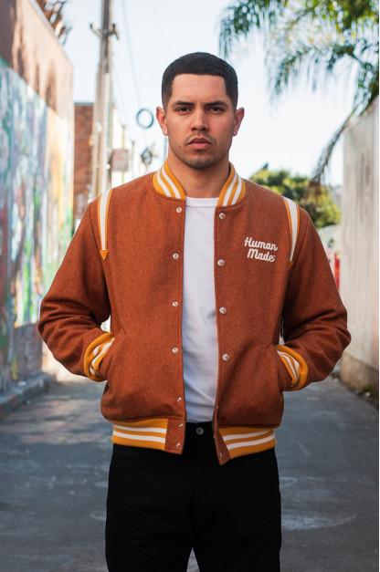 Human Made Reversible Wool & Leather Varsity Jacket