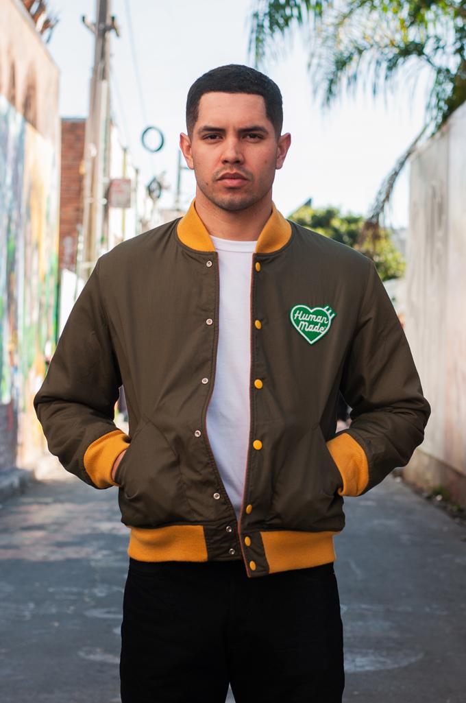 Human Made Reversible Wool & Leather Varsity Jacket - Image 3