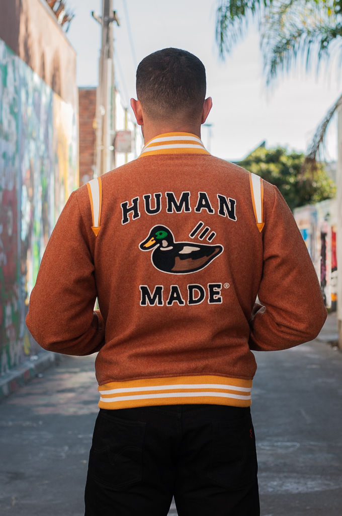 Human Made Reversible Wool & Leather Varsity Jacket - Image 5