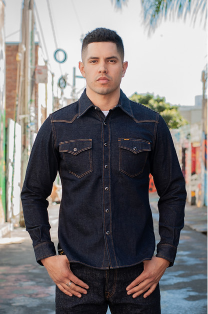 Iron Heart 12oz Denim Snap Shirt w/ Contrast Stitch