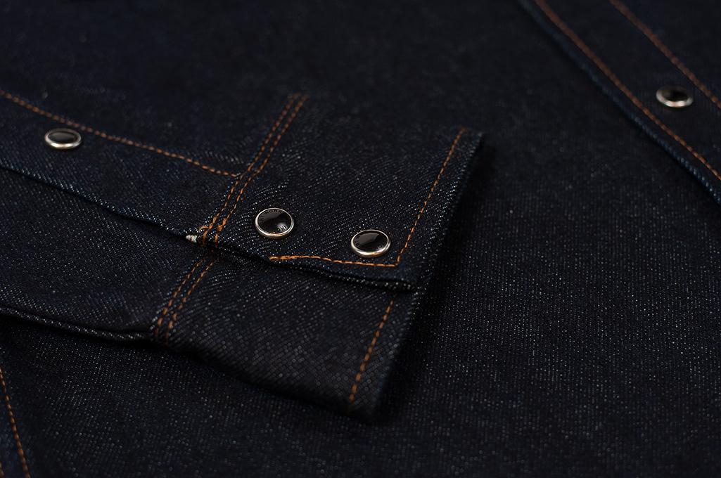 Iron Heart 12oz Denim Snap Shirt w/ Contrast Stitch - Image 5