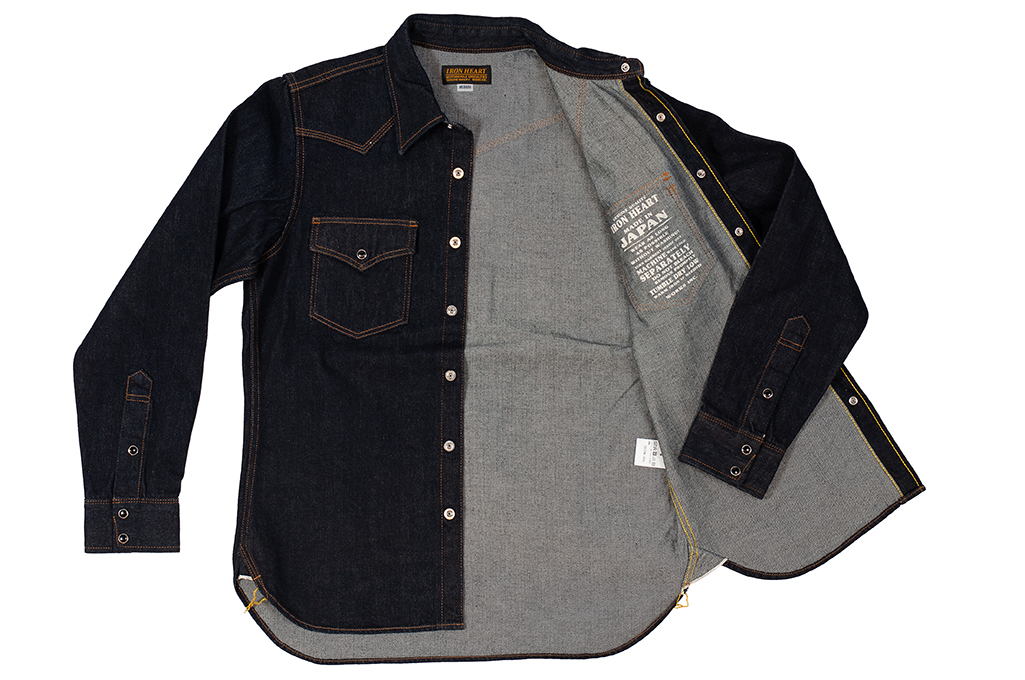 Iron Heart 12oz Denim Snap Shirt w/ Contrast Stitch - Image 7