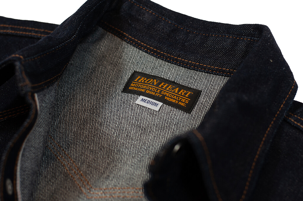 Iron Heart 12oz Denim Snap Shirt w/ Contrast Stitch - Image 10