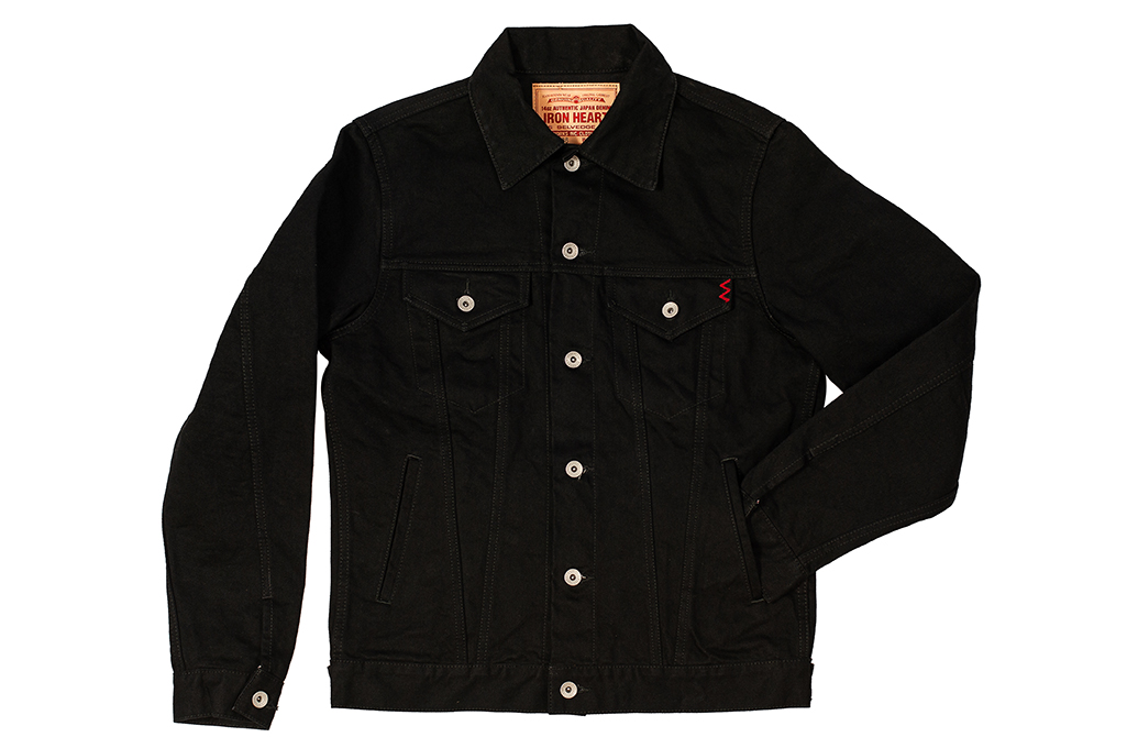 Iron Heart Modified Type III Denim Jacket - 14oz Black/Black - Image 4