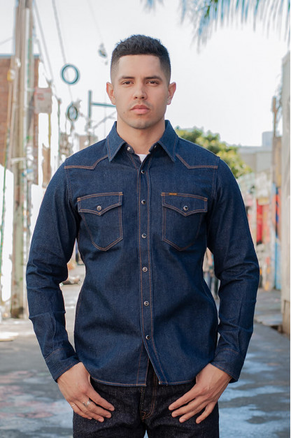 Iron Heart Snap Denim Shirt - Natural Indigo!