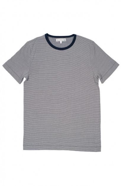 Merz B. Schwanen 2-Thread Heavy Weight T-Shirt - Fine Blue Stripe