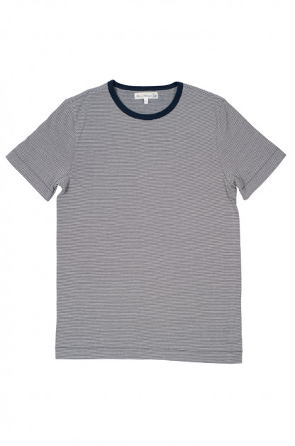 Merz B. Schwanen 2-Thread Heavy Weight T-Shirt - Fine Blue Stripe