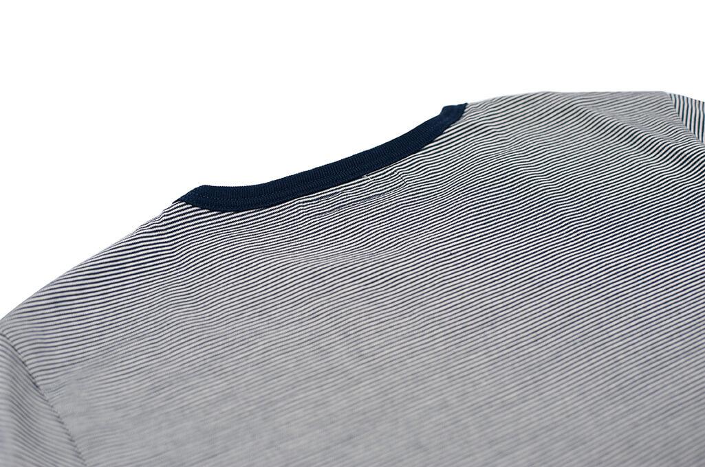 Merz B. Schwanen 2-Thread Heavy Weight T-Shirt - Fine Blue Stripe - Image 4