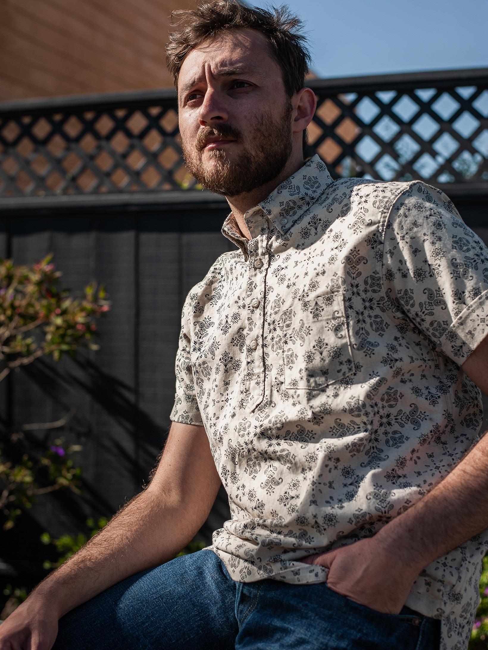 3sixteen Pop-Over Shirt - Natural Bandana - Image 12