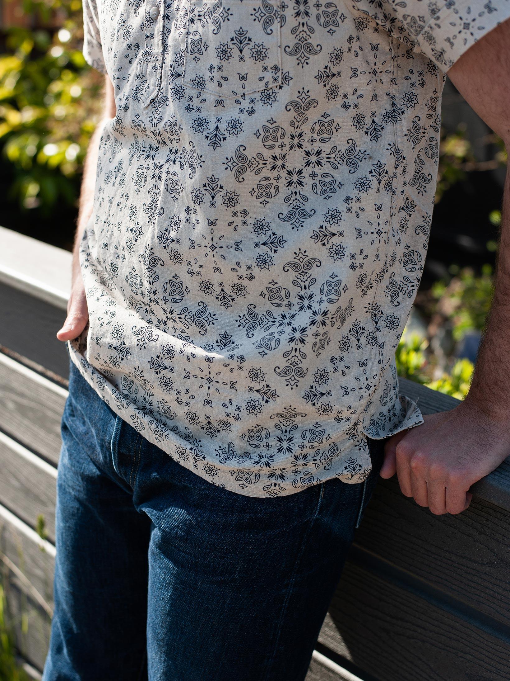 3sixteen Pop-Over Shirt - Natural Bandana - Image 15