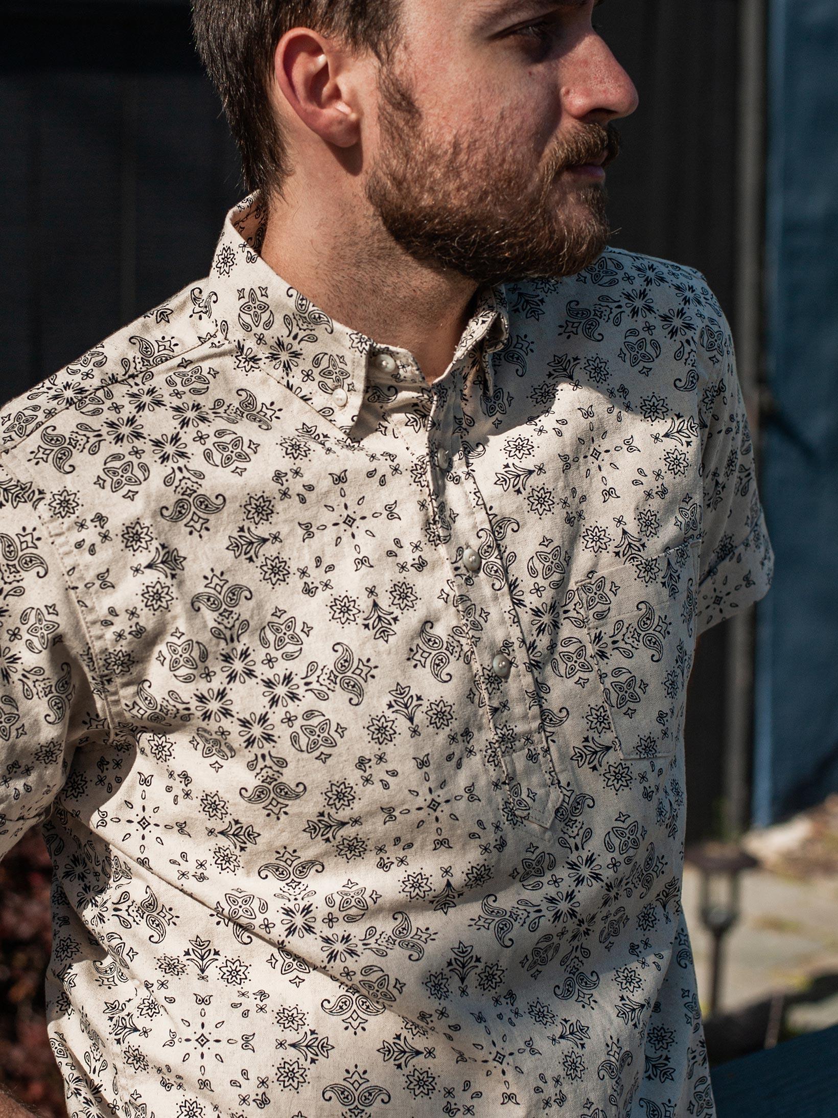 3sixteen Pop-Over Shirt - Natural Bandana - Image 16