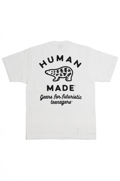 Human Made Slub Cotton T-Shirt - Gears & Polar w/ Pocket White