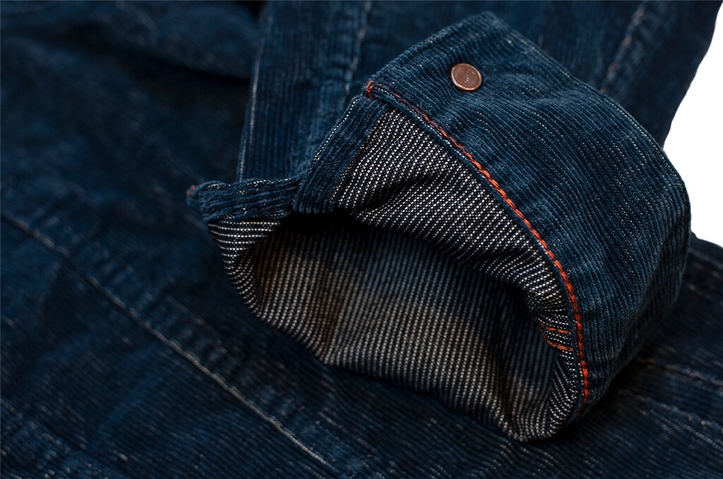 Iron Heart Corduroy Modified Type III Jacket - Indigo Dyed - Image 12
