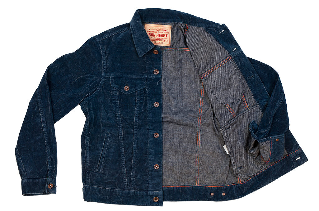 Iron Heart Corduroy Modified Type III Jacket - Indigo Dyed - Image 13