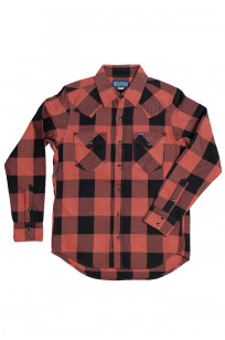 Iron Heart Heavy Indigo-Check Flannel Snap Shirt - Red/Dark Indigo - Image 0
