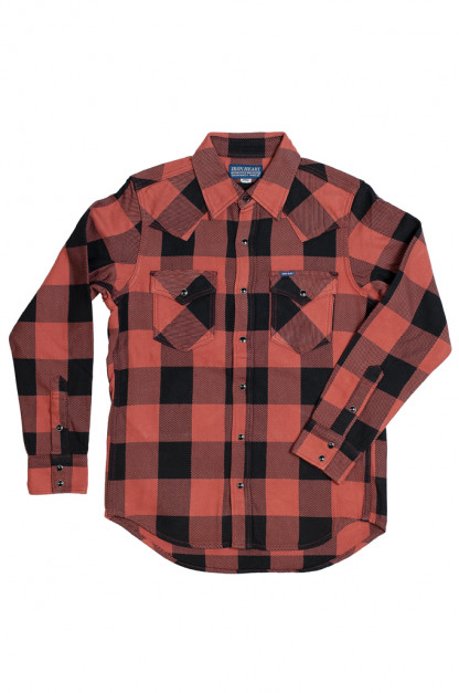 Iron Heart Heavy Indigo-Check Flannel Snap Shirt - Red/Dark Indigo