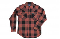 Iron Heart Heavy Indigo-Check Flannel Snap Shirt - Red/Dark Indigo - Image 1
