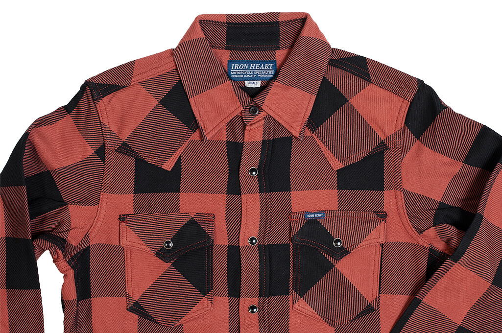 Iron Heart Heavy Indigo-Check Flannel Snap Shirt - Red/Dark Indigo - Image 2