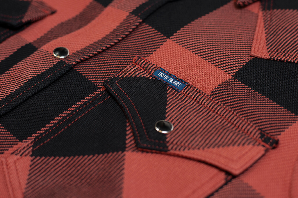 Iron Heart Heavy Indigo-Check Flannel Snap Shirt - Red/Dark Indigo - Image 3