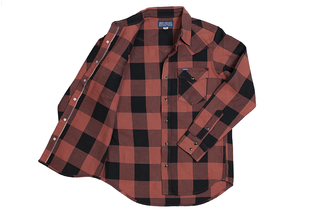Iron Heart Heavy Indigo-Check Flannel Snap Shirt - Red/Dark Indigo - Image 7