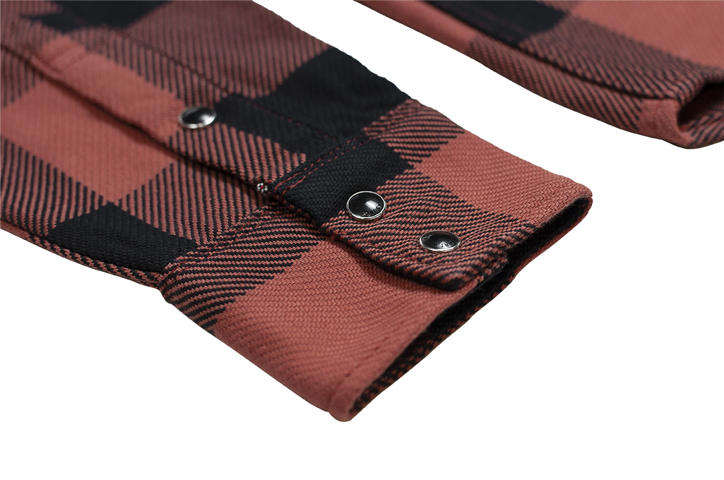 Iron Heart Heavy Indigo-Check Flannel Snap Shirt - Red/Dark Indigo - Image 9