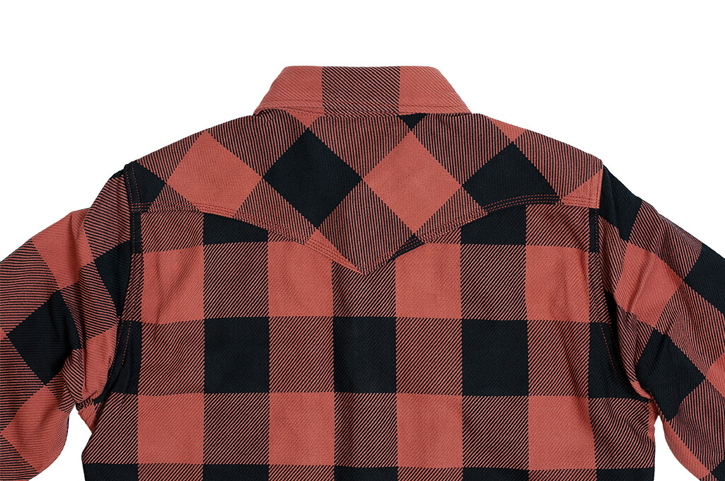 Iron Heart Heavy Indigo-Check Flannel Snap Shirt - Red/Dark Indigo - Image 11