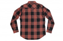 Iron Heart Heavy Indigo-Check Flannel Snap Shirt - Red/Dark Indigo - Image 12