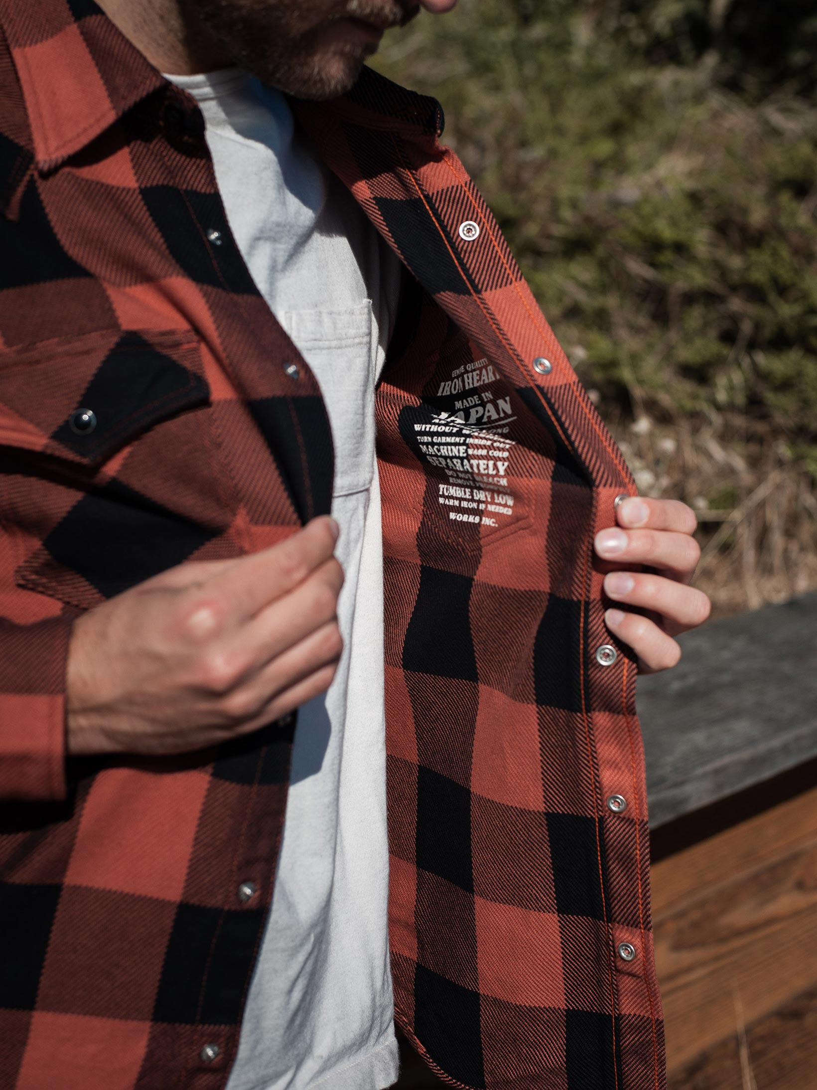 Iron Heart Heavy Indigo-Check Flannel Snap Shirt - Red/Dark Indigo - Image 15