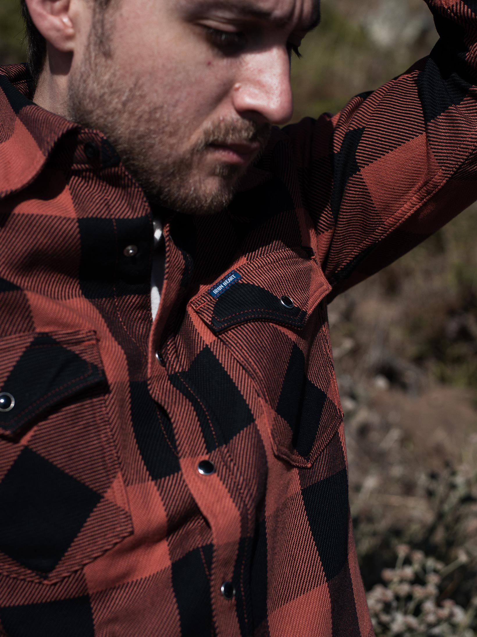 Iron Heart Heavy Indigo-Check Flannel Snap Shirt - Red/Dark Indigo - Image 17