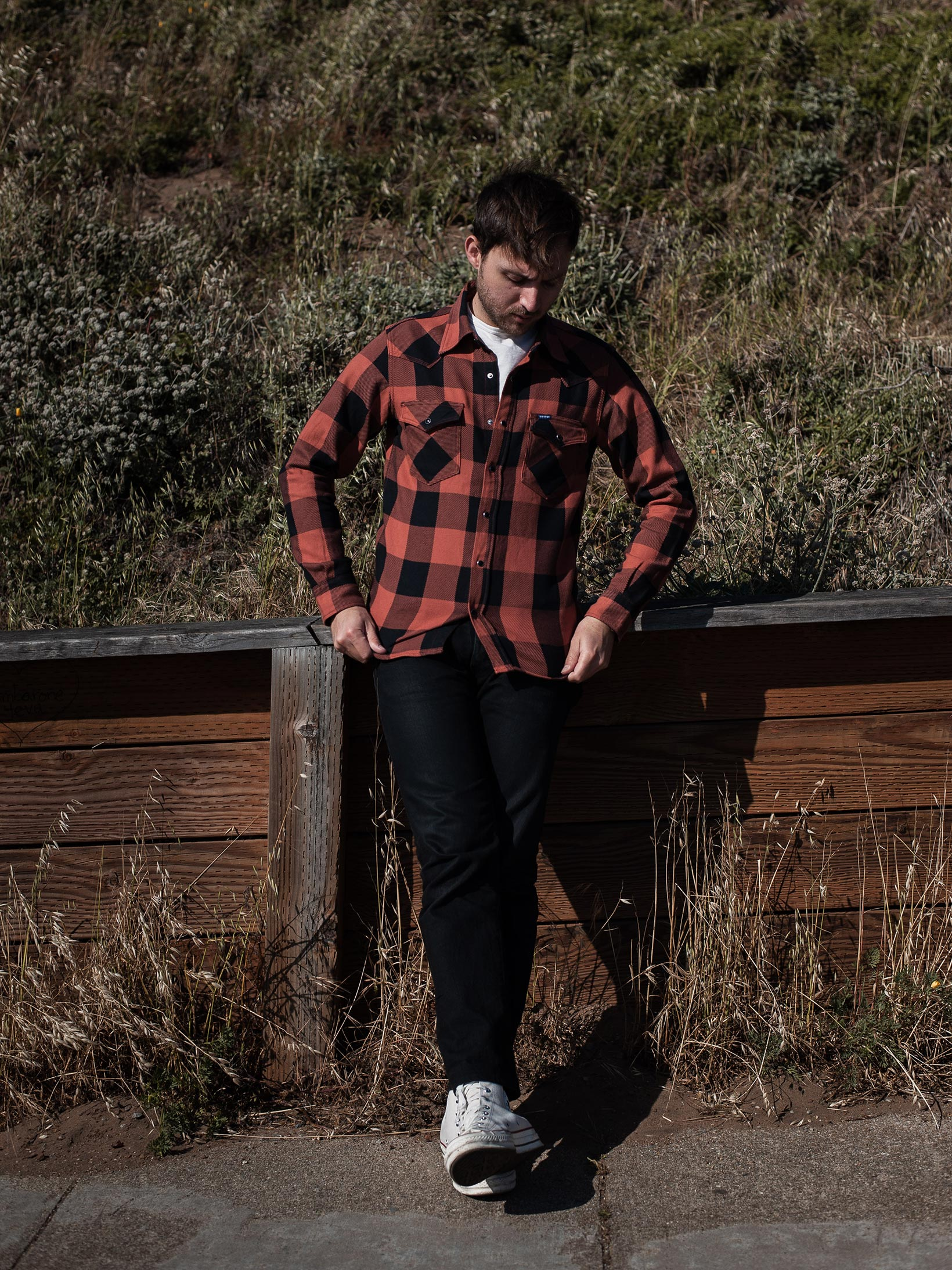 Iron Heart Heavy Indigo-Check Flannel Snap Shirt - Red/Dark Indigo - Image 18