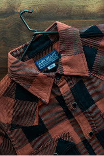 Iron Heart Heavy Indigo-Check Flannel Snap Shirt - Red/Dark Indigo - Image 19