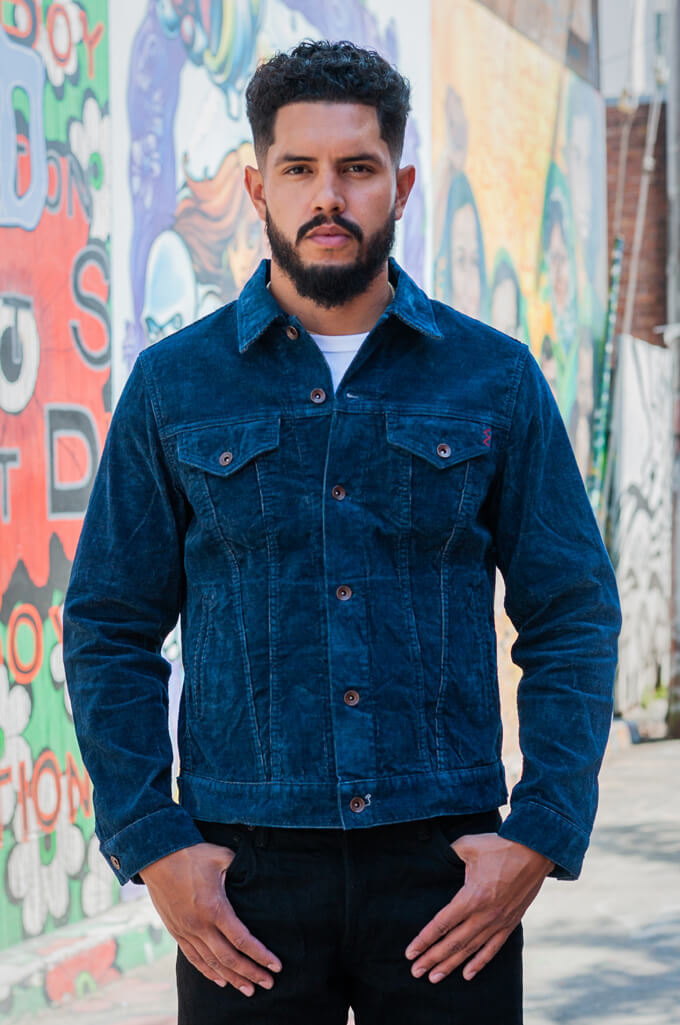 Iron Heart Corduroy Modified Type III Jacket - Indigo Dyed - Image 0