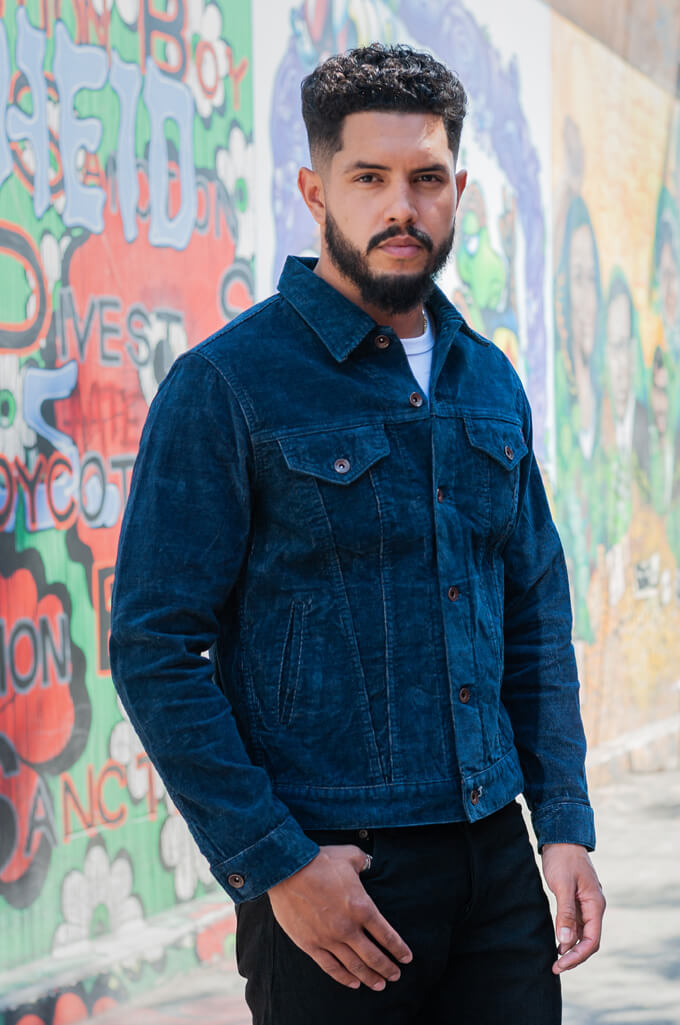 Iron Heart Corduroy Modified Type III Jacket - Indigo Dyed - Image 2