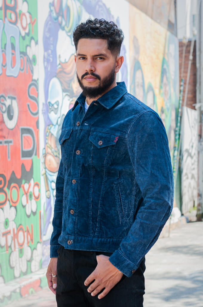 Iron Heart Corduroy Modified Type III Jacket - Indigo Dyed - Image 3