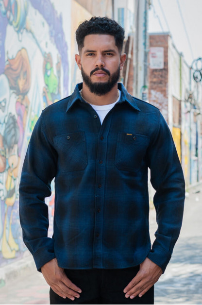 Iron Heart Ombre Check Ultra-Heavy Flannel - Blue/Black Workshirt