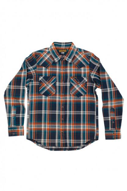 Iron Heart Ultra-Heavy Snap Shirt - Crazy Check Navy