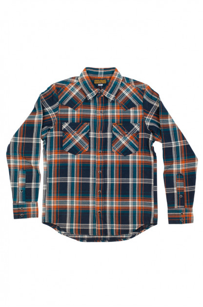 Iron Heart Ultra-Heavy Snap Shirt - Crazy Check Navy