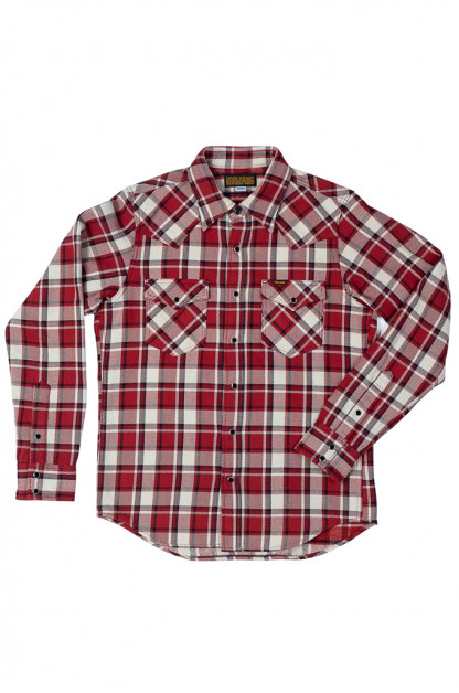 Iron Heart Ultra-Heavy Flannel Snap Shirt - Small Block Red