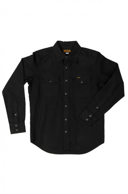 Iron Heart 13oz Military Serge Snap Shirt - Black
