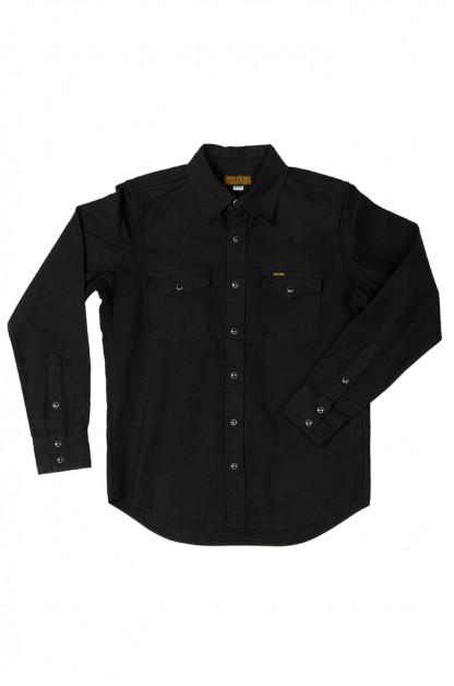 Iron Heart 13oz Military Serge Snap Shirt - Black
