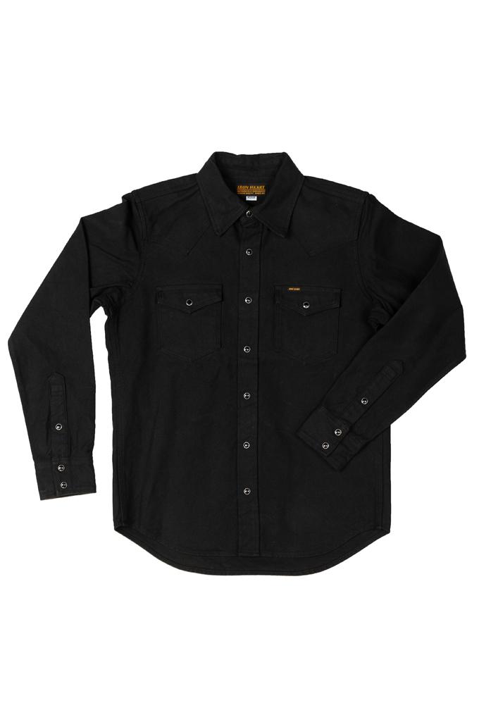 Iron Heart 13oz Military Serge Snap Shirt - Black - Image 5