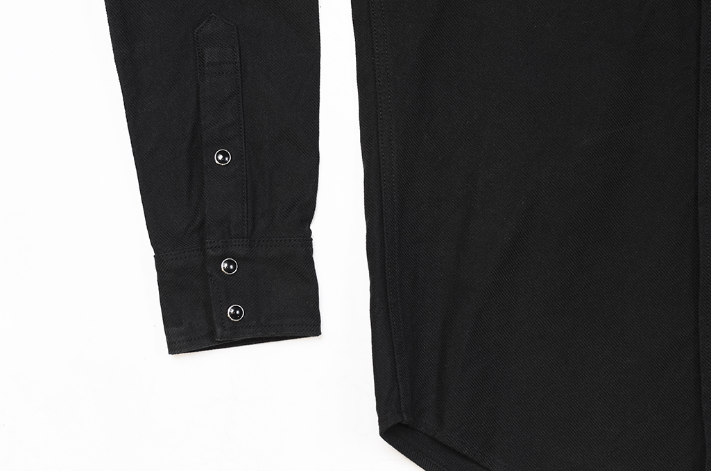 Iron Heart 13oz Military Serge Snap Shirt - Black - Image 10