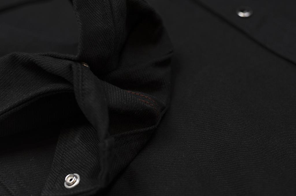 Iron Heart 13oz Military Serge Snap Shirt - Black - Image 11