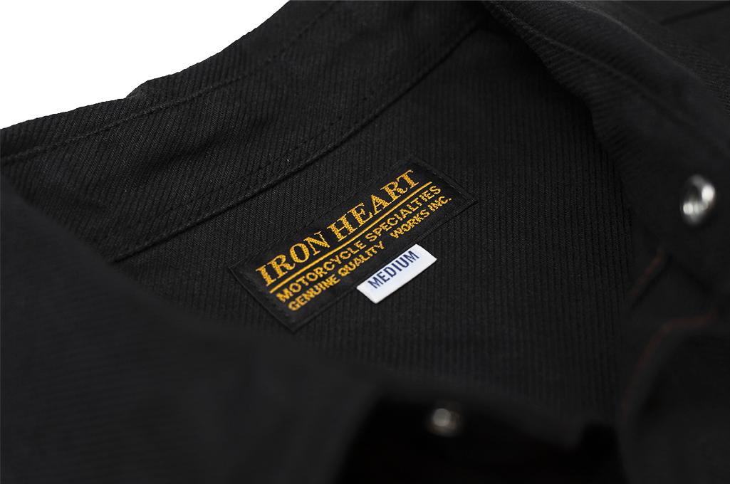 Iron Heart 13oz Military Serge Snap Shirt - Black - Image 13