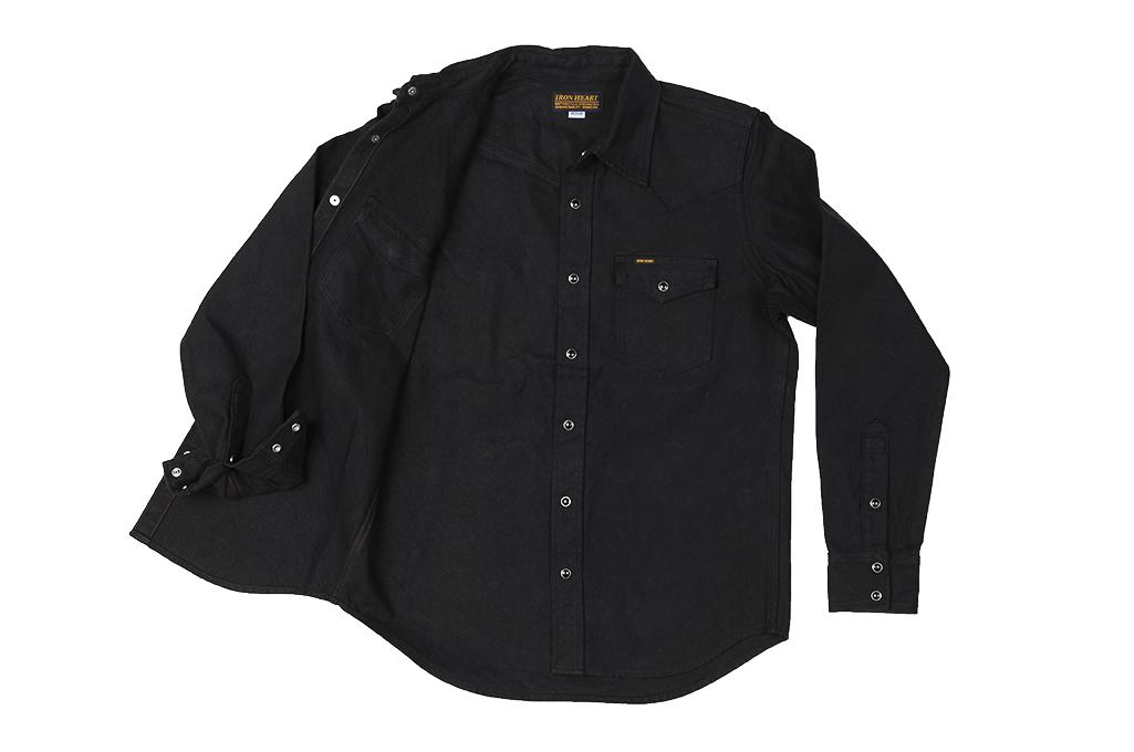 Iron Heart 13oz Military Serge Snap Shirt - Black - Image 14