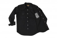 Iron Heart 13oz Military Serge Snap Shirt - Black - Image 15