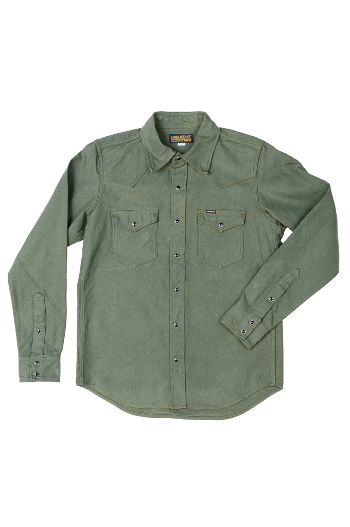 Iron Heart 13oz Military Serge Snap Shirt - Olive - Image 0