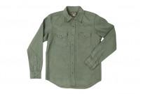 Iron Heart 13oz Military Serge Snap Shirt - Olive - Image 1