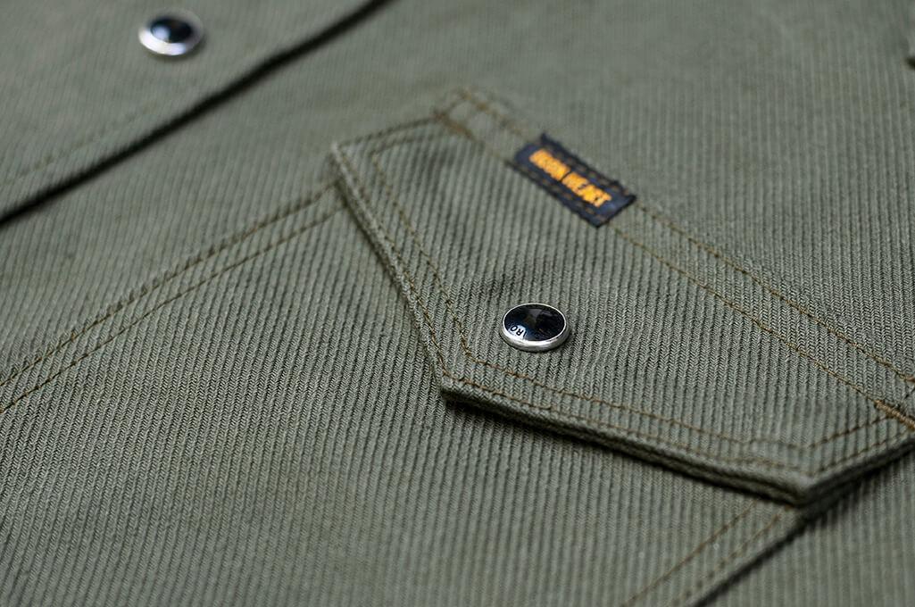 Iron Heart 13oz Military Serge Snap Shirt - Olive - Image 3