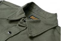Iron Heart 13oz Military Serge Snap Shirt - Olive - Image 4